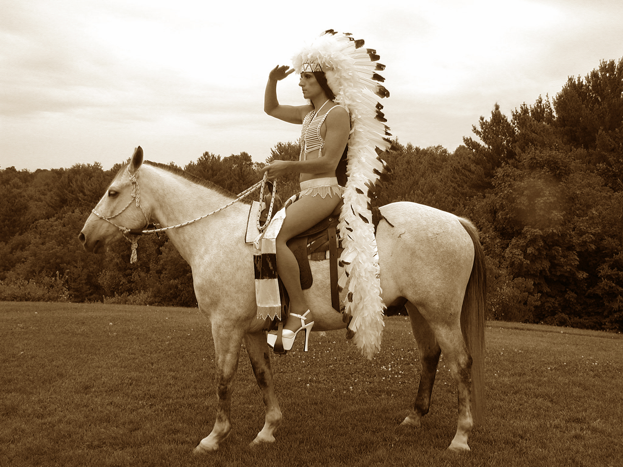 Kent Monkman as his alter-ego Miss Chief Eagle Testickle. Still from Group of Seven Inches (2005).