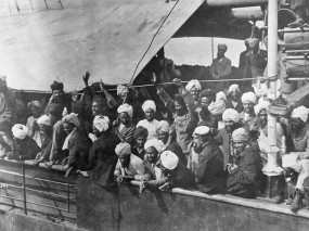 Indian immigrants on board the Komagata Maru in English Bay, Vancouver, British Columbia, 1914.