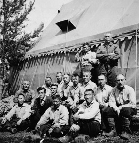 Group of interned Japanese Canadian men at a road camp, March 1942, Yellowhead, BC.