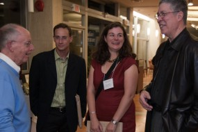 Canadian critics. W.H. New, Fred Cutler, Laura Moss, and Thomas King (left to right) at the Canadian Literature 50th Anniversary Gala.