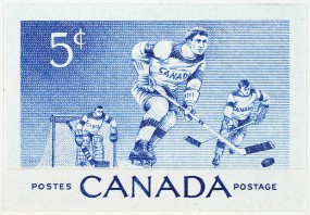 Canadian stamp, issued 23 January 1956. Hockey has become a classic symbol of Canada's rugged northernness.