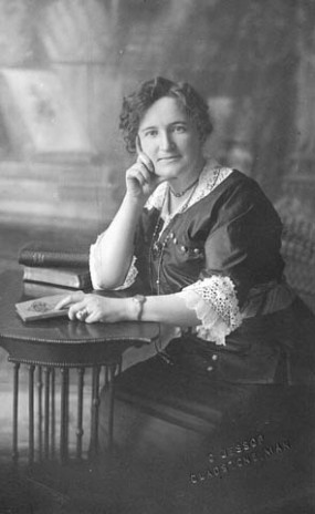 Nellie McClung, women's rights activist, ~1905-22.