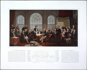This painting depicts the attendees of the Charlottetown and Quebec Conferences in 1884, meetings that preceded Canadian Confederation and the BNA Act.