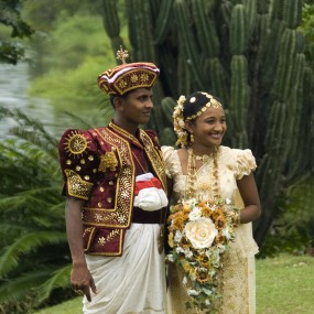 An example of Kandyan wedding attire in Sri Lanka