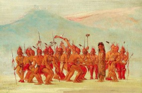 Dance to the Berdache by George Catlin (ca. 1830s): A depiction of a ceremonial dance of the Sac and Fox peoples of the Great Plains celebrating the two-spirited person.
