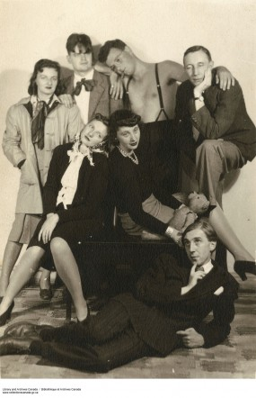The Preview Group (ca 1942). Back row, l. to r.: Kit Shaw, Neufville Shaw, Bruce Ruddick, F.R. Scott; middle: Peggy Anderson, Patricia Kathleen Page; on floor: Patrick Anderson.