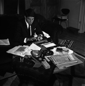 Leonard Cohen at his typewriter in Montreal, October 26, 1963.