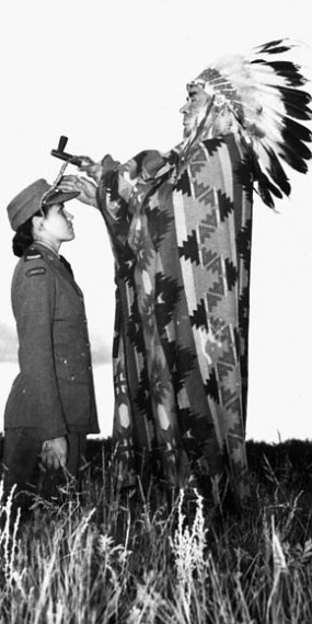 Mary Greyeyes purportedly being blessed by her native Chief prior to leaving for service in the CWAC, September 29, 1942.