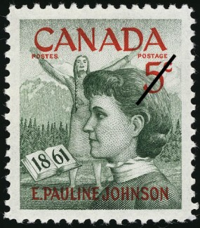 Commemorative stamp of E. Pauline Johnson (Tekahionwake), issued in 1961.