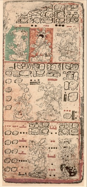 Example of the Mayan book, the Dresden Codex, written before contact with Europeans