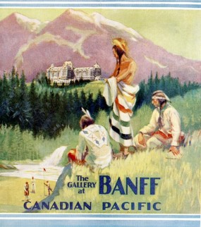 On the Green poster for Banff and the CPR (1930), reflecting a Eurocentric representation of three Indigenous figures.