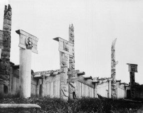 Houses and carved posts in the Skedans village, Haida Gwaii, 18 July 1878. Stories were often told in specific houses.