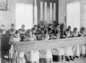 Studying at the residential school in Fort Resolution, N.W.T.