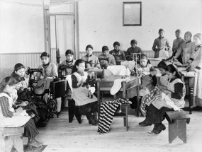 Sewing class in the residential school in Fort Resolution, N.W.T., date unknown.