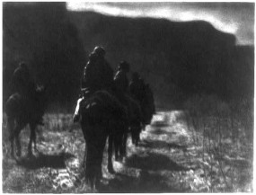 The vanishing race -- Navaho (1904) by Edward S. Curtis, visualizing and propagating his belief in the vanishing Indian. Consider Thomas King's discussion of Curtis in the chapter You're Not The Indian I Had in Mind in his book The Truth About Stories