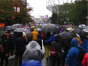 Over 70, 000 people participated in the Walk for Reconciliation in Vancouver on 22 Sept 2013, despite the downpour