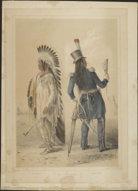 A Siouan/Assiniboin chief, before and after civilization: Wi-Jun-Jon by George Catlin, 1844