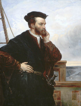 Imaginary portrait of Jacques Cartier by François Riss, 1839, copied by Théophile Hammel ca. 1844.