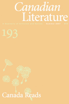 Cover of Canadian Literature issue 193, Canada Reads