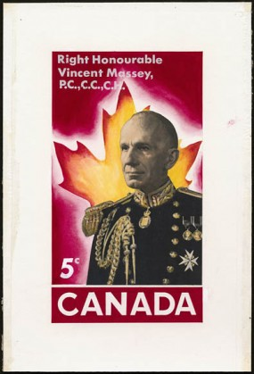 A stamp featuring Vincent Massey