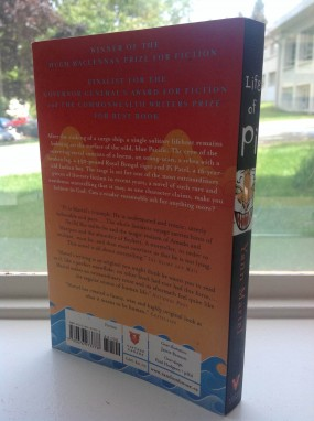 Back cover and spine of the 2011 Vintage Canada edition of Life of Pi by Yann Martel