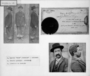 "Murderers Victor ""Pete"" Fournier (upper) and Edward Labelle (lower) with the invitation to their hanging in the Yukon, January 1903. Library and Archives Canada, accession number 1996-400 NPC, PA-205087 90"